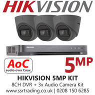 Hikvision 5MP Kit - 8CH DVR With 3x Grey Audio Turret Cameras