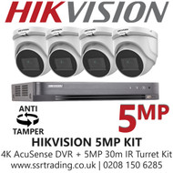 Hikvision 5MP Kit - 8CH DVR With 4x Anti Tamper Screw Turret Cameras