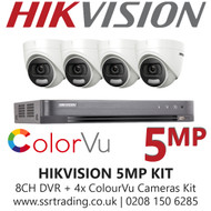 Hikvision 5MP Kit - 8CH DVR With 4x ColorVu Turret Cameras
