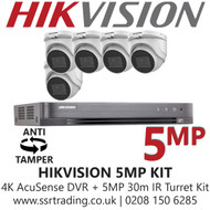 Hikvision 5MP Kit - 8CH DVR With 5x Anti Tamper Screw Turret Cameras