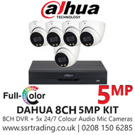 Dahua 5MP Kit - 8CH DVR With 5x Colour Night Vision Built-in Mic Turret Cameras