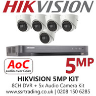 Hikvision 5MP Kit - 8CH DVR With 5x Audio Turret Cameras