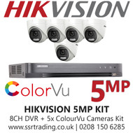 Hikvision 5MP Kit - 8CH DVR With 5x ColorVu Turret Cameras