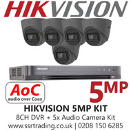 Hikvision 5MP Kit - 8CH DVR With 5x Grey Audio Turret Cameras