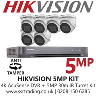 Hikvision 5MP Kit - 8CH DVR With 6x Anti Tamper Screw Turret Cameras