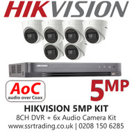 Hikvision 5MP  Kit - 8CH DVR With 6x Audio Turret Cameras