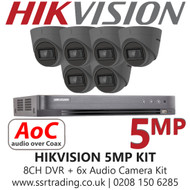 Hikvision 5MP Kit - 8CH DVR With 6x Grey Audio Turret Cameras