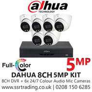Dahua 5MP Kit - 8CH DVR With 6x Colour Night Vision Built-in Mic Turret Cameras