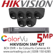 Hikvision 5MP Kit - 8CH DVR With 6x Grey ColorVu Turret Cameras