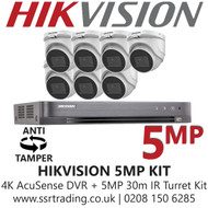 Hikvision 5MP Kit - 8CH DVR With 7x Anti Tamper Screw Turret Cameras