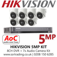 Hikvision 5MP Kit - 8CH DVR With 7x Audio Turret Cameras