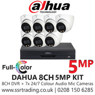 Dahua 5MP Kit - 8CH DVR With 7x Colour Night Vision Built-in Mic Turret Cameras