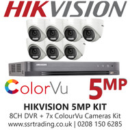 Hikvision 5MP Kit - 8CH DVR With 7x ColorVu Turret Cameras