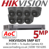 Hikvision 5MP Kit - 8CH DVR With 7x Grey Audio Turret Cameras