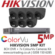 Hikvision 5MP Kit - 8CH DVR With 7x Grey ColorVu Turret Cameras