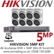 Hikvision 5MP Kit - 8CH DVR With 8x Anti Tamper Screw Turret Cameras