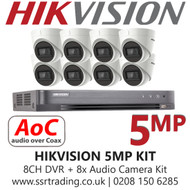 Hikvision 5MP Kit - 8CH DVR With 8x Audio Turret Cameras