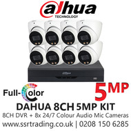 Dahua 5MP Kit - 8CH DVR With 8x Colour Night Vision Built-in Mic Turret Cameras