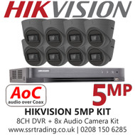 Hikvision 5MP Kit - 8CH DVR With 8x Grey Audio Turret Cameras