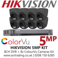 Hikvision 5MP Kit - 8CH DVR With 8x Grey ColorVu Turret Cameras