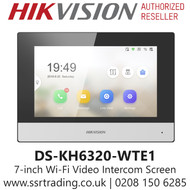 Hikvision 7-inch  Wi-Fi  Video Intercom Indoor Station Touch Screen - DS-KH6320-WTE1