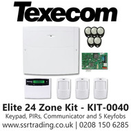 Texecom Premier Elite 24 Zone Kit with Keypad, PIRs, Communicator and Pack of Five Keyfobs - Kit-0040