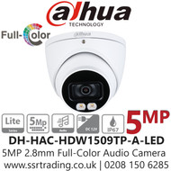 Dahua 5MP 2.8mm Lens Full-Color Audio Turret Camera - DH-HAC-HDW1509TP-A-LED