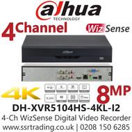 Dahua 4 Channel 4CH DVR 8MP 4K HDMI Smart AI - DH-XVR5104HS-4KL-I2