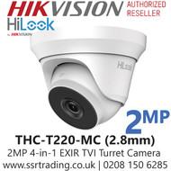 HiLook 2MP 2.8mm Lens 40m IR Range EXIR 4-in-1 Turret Camera - THC-T220-MC