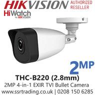 HiWatch 2MP 2.8mm Lens 40m IR Range EXIR 4-I-Bullet Camera - THC-B220