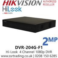 HiLook 4 Channel 4CH 1080p DVR Metal Casing - DVR-204G-F1