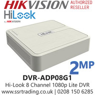 HiLook 8 Channel 8CH 1080p 2MP DVR - ADP08G1 / DVR-108G-F1