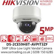 Hikvision 5MP Ultra Low Light Vandal Motorized Varifocal 4-in-1 Dome Camera - 60m IR Range - DS-2CE59H8T-AVPIT3ZF (2.7-13.5mm)