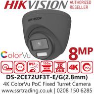 Hikvision 8MP ColorVu PoC Outdoor Grey 4K Turret Camera - 40m White Light Range - DS-2CE72UF3T-E(2.8mm)
