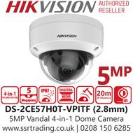 Hikvision 5MP Outdoor Vandal 4-in-1 TVI Dome Camera - 20m IR Range - DS-2CE57H0T-VPITF (2.8mm)