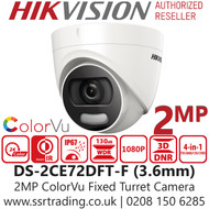 Hikvision 2MP Color Outdoor 4-in-1 Turret Camera - 20m White Light Distance - 24/7 Full Color Imaging - DS-2CE72DFT-F(3.6mm)
