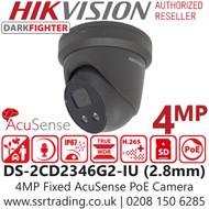 Hikvision 4MP IP PoE Darkfighter Built-in Mic Grey Turret Camera - DS-2CD2346G2-IU/GREY (2.8mm)