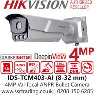 Hikvision 4MP Darkfighter Varifocal Lens Licence Plate Recognition ANPR Bullet Camera - Alarm I/O - IDS-TCM403-AI (8-32mm)