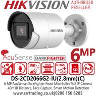 Hikvision 6MP AcuSense 2.8mm lens Darkfighter Mini Bullet Camera with IR & Built in MIC PoE Camera - DS-2CD2066G2-IU