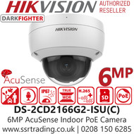 Hikvision 6MP AcuSense Darkfighter Indoor PoE IP Dome Camera - Built in MIC - DS-2CD2166G2-ISU (C) (2.8MM)