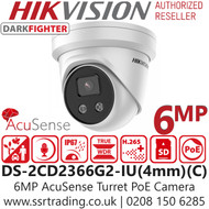 Hikvision 6MP AcuSense DarkFighter 4mm Lens Turret Network Camera - Built-in Microphone - DS-2CD2366G2-IU(4MM) (C )