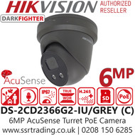 Hikvision 6MP AcuSense DarkFighter 2.8mm Lens Grey Turret Network Camera - Built-in Microphone - DS-2CD2366G2-IU (2.8MM)/GREY (C )