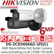 Hikvision DS-2CD2666G2-IZS 6MP AcuSense DarkFighter 2.8-12mm Motorized Varifocal Lens Bullet Network Camera in Black / White Color