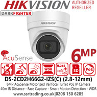 Hikvision DS-2CD2H66G2-IZS (C) 6MP AcuSense Darkfighter 2.8-12mm Motorized Varifocal Lens Turret Network Camera with IR