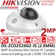 Hiikvision DS-2CD2526G2-IS  2MP AcuSense Darkfighter 2.8mm Lens Mini Dome Network Camera with IR & Built in Microphone