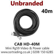 Pre Made 40M HD BNC RG59 2 Core Video Power Coax Cable  (CAB HD-40M )