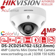 Hikvision 4MP ColorVu Fixed Lens Mini Dome Network PoE Camera - Built-in microphone - 30m White Light Range - DS-2CD2547G2-LS (2.8mm)