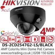Hikvision 4MP ColorVu Fixed Lens Mini Dome Black Network PoE Camera - Built-in microphone - 30m White Light Range - DS-2CD2547G2-LS /Black (2.8mm)