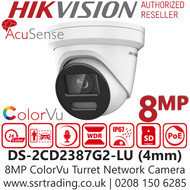Hikvision 8MP ColorVu AcuSense Fixed Lens Turret Network PoE Camera - Built-in microphone - 30m White Light Range - DS-2CD2387G2-LU (4mm)