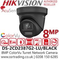 Hikvision 8MP ColorVu AcuSense Fixed Lens Black Turret Network PoE Camera - Built-in microphone - 30m White Light Range - DS-2CD2387G2-LU/BLACK (2.8mm)